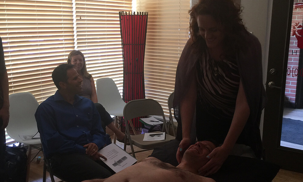 GoWellness Trainee practices on a patient